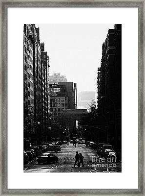 Greenwich Village With Washington Square Arch In Background New York City Framed Print