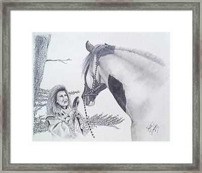 Greeting At The Monument Framed Print