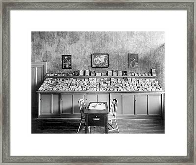 Greeting Card Writing Table Framed Print by Underwood Archives