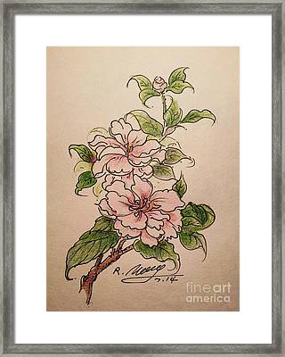 Framed Print featuring the drawing Greeting Flower by Rose Wang