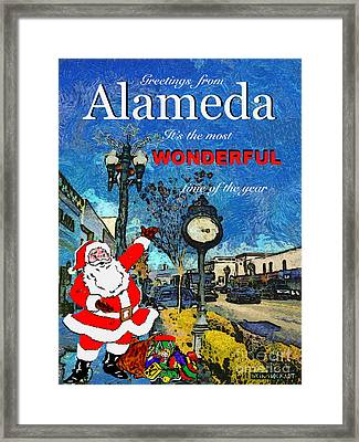 Alameda Christmas Greeting Framed Print by Linda Weinstock