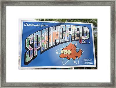 Greeting From Springfield Usa Framed Print by Edward Fielding