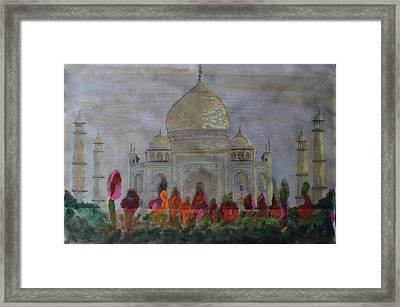 Greeting From The Taj Framed Print