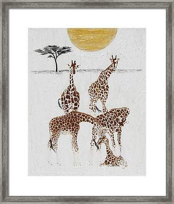 Framed Print featuring the painting Greeting The New Arrival by Stephanie Grant