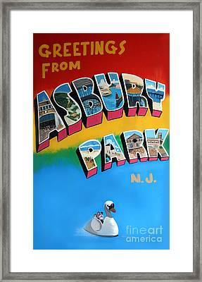 Greetings From Asbury Park Framed Print by Melinda Saminski