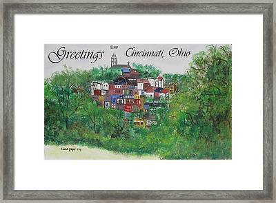 Greetings From Cincinnati Ohio Framed Print by Diane Pape
