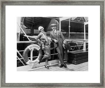 Greta Garbo Aboard Ship Framed Print by Underwood Archives