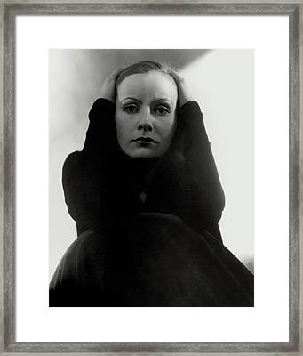 Greta Garbo Wearing A Black Dress Framed Print by Edward Steichen
