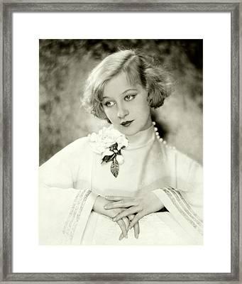 Greta Nissen Wearing A Corsage Framed Print
