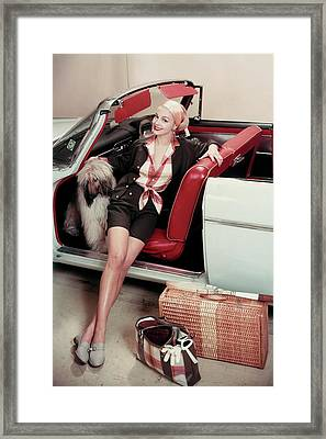Gretchen Harris In A Car With A Dog Framed Print by Frances Mclaughlin-Gill