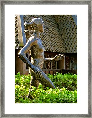 Framed Print featuring the photograph Grete Waitz Sculpture by Joy Hardee