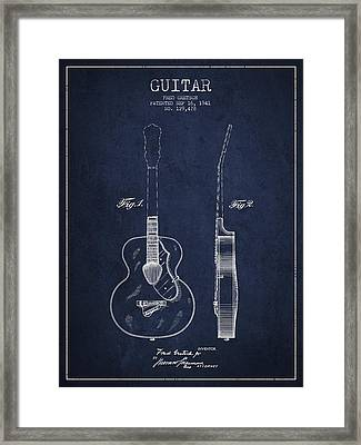 Gretsch Guitar Patent Drawing From 1941 - Blue Framed Print by Aged Pixel