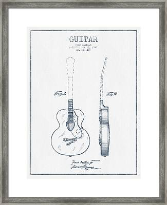 Gretsch Guitar Patent Drawing From 1941 - Blue Ink Framed Print by Aged Pixel