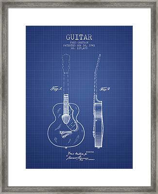 Gretsch Guitar Patent Drawing From 1941 - Blueprint Framed Print by Aged Pixel