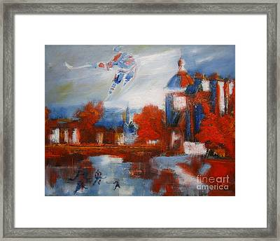 Gretzky And Frozen River Players Framed Print