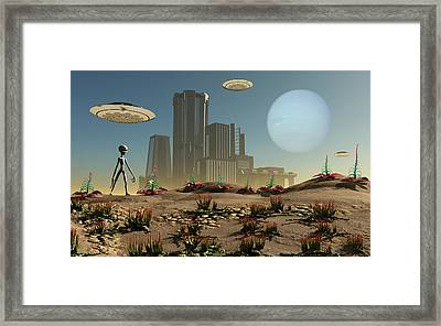 Grey Aliens On A Distant Homeworld Framed Print by Mark Stevenson