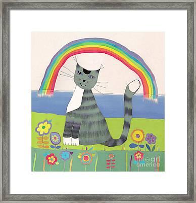 Grey Cat Under Rainbow Framed Print by Yana Vergasova