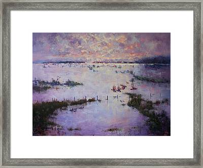 Grey Clouds Gather Framed Print by Marie Green