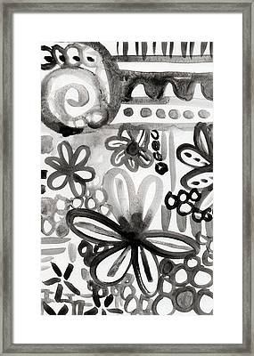 Grey Garden- Abstract Floral Painting Framed Print