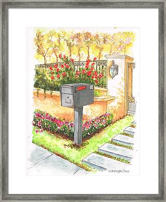 Grey Mail Box In Beverly Hills - California Framed Print by Carlos G Groppa