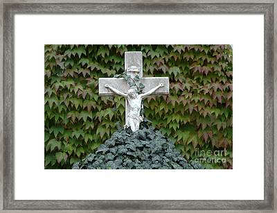 Grey Marmoreal Cross With Trailing Ivy Framed Print by Angela Kail