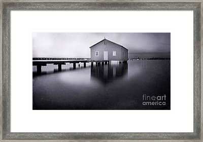 Grey Morning At The Boat Shed Framed Print by Kym Clarke