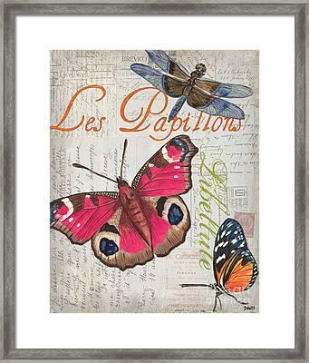 Grey Postcard Butterflies 1 Framed Print by Debbie DeWitt