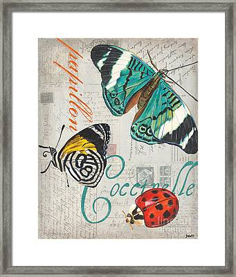 Grey Postcard Butterflies 2 Framed Print