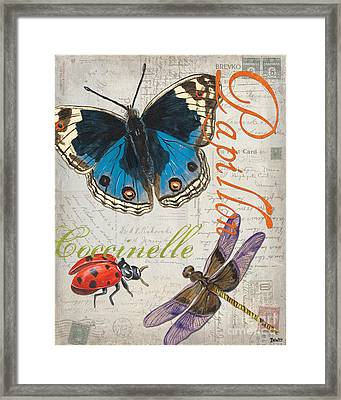 Grey Postcard Butterflies 4 Framed Print
