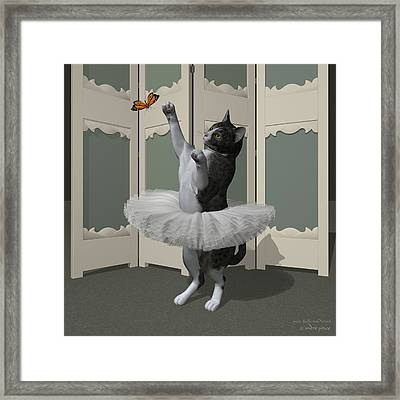 Grey Tabby Ballet Cat On Paw-te Framed Print by Andre Price