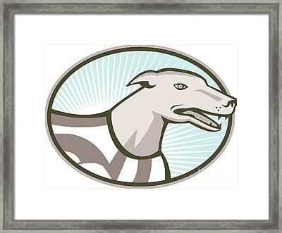 Greyhound Dog Head Retro Framed Print by Aloysius Patrimonio