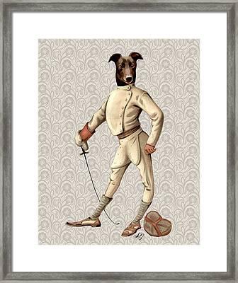 Greyhound Fencer Full White Framed Print