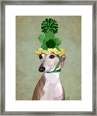 Greyhound Green Bobble Hat Framed Print by Kelly McLaughlan
