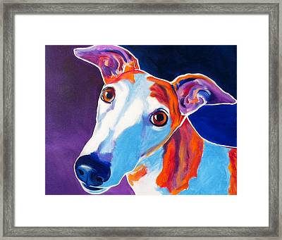 Greyhound - Halle Framed Print by Alicia VanNoy Call