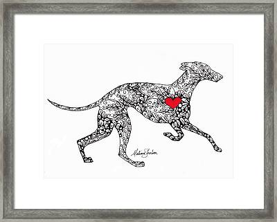 Framed Print featuring the drawing Greyhound by Melissa Sherbon