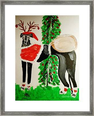 Greyhound Santa Framed Print by Marie Bulger