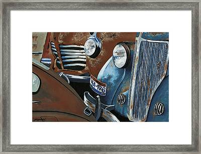 Gridlock In The Yard Framed Print by John Wyckoff