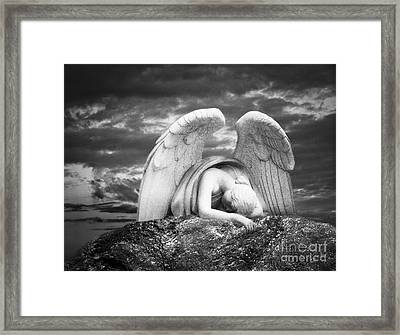 Grieving Angel Framed Print by Olga Zamora