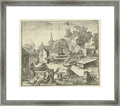 Grieving People On The Portuguese-jewish Cemetery Beth Haim Framed Print