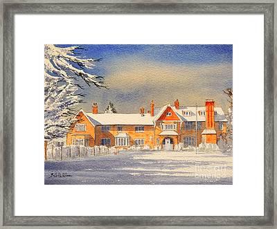 Griffin House School - Snowy Day Framed Print by Bill Holkham