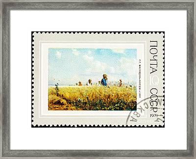 Grigoriy Myasoyedov The Mowers  Framed Print by Jim Pruitt