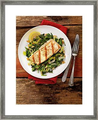 Grilled Halibut With Spinach, Leeks And Framed Print by Lauripatterson