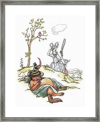 Grimm: Wolf And Seven Kids Framed Print by Granger