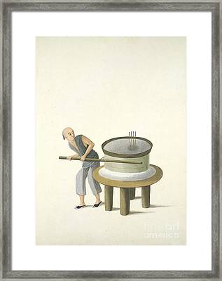 Grinding Flour, 19th-century China Framed Print