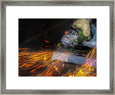 Grinding In A Steel Factory  Framed Print
