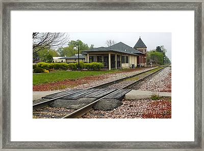 Grinnell Iowa - Train Depot Framed Print by Gregory Dyer