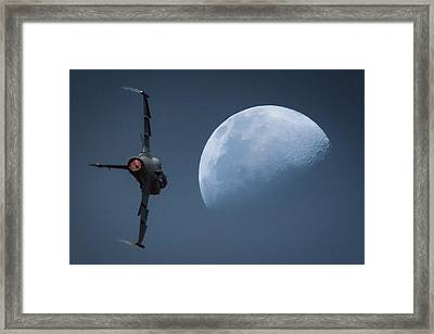 Framed Print featuring the photograph Gripen Moon by Paul Job