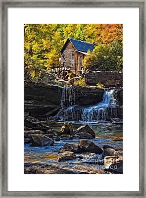 Grist Mill In Babcock State Park West Virginia Framed Print by Kathleen K Parker