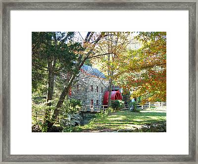 Grist Mill In Fall Framed Print by Barbara McDevitt