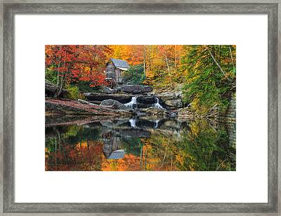 Grist Mill In The Fall Framed Print